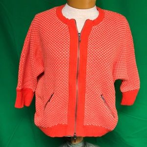 CAbi Style 195 Orange Cocoon Grenadine Sweater Med